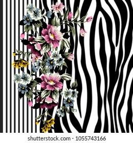 Animal print, leopard texture background,flower pattern