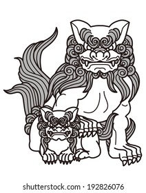 Animal to protect top dog, shrine, a Buddhist temple