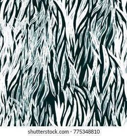 Animal seamless pattern. Zebra tribal tiled print. Wild repeating template. Tribal seamless texture of zebra skin. Hand drawn primitive illustration. Artistic paint background. Swimwear fabric pattern