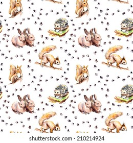 Animal Seamless Wallpaper With Footprints Forest Animals Squirrel Rabbits Hedgehog Watercolor