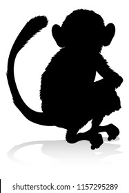 An animal silhouette of a monkey