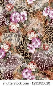 Animal skin and flower patchwork design