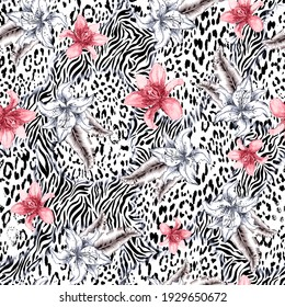 Animal skin and roses. Seamless repeating pattern.