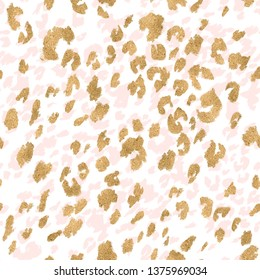 Animal skin seamless pattern. Leopard`s spotted fur imitation. Creative leopard rosettes background in gold foil pastel pink colors. Digital art illustration