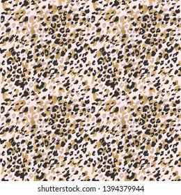 Animal skin seamless pattern. Leopard`s spotted fur imitation. Creative leopard rosettes background with gold foil, ink texture. Digital art illustration
