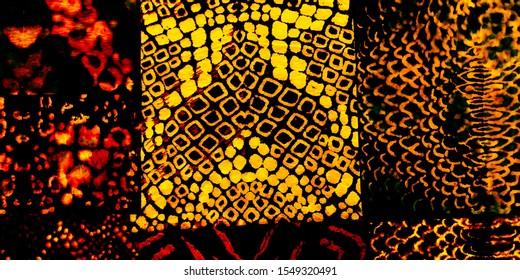 Animal Skin Texture. Back Vintage Natural Art. Orange Grunge Animal Background. Orange Modern Line Art. Watercolor Sketch Brush. Camouflage.