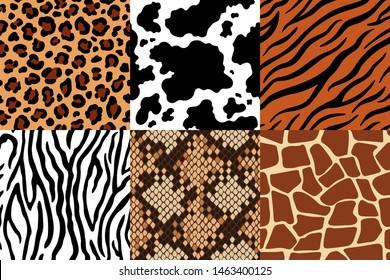 Animal skins pattern. Leopard leather, fabric zebra and tiger skin. Safari giraffe, cow print and snake seamless patterns. Fashion clothes prints, wildlife skins fur printed texture  set