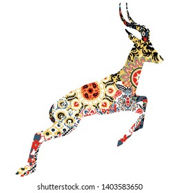 Animal symbolizing Uzbekistan. Goitered with Uzbek patterns on a white background.