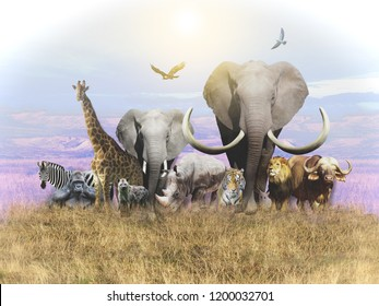 Animals of Africa and a domestic cat leave the heat. 3D rendering.