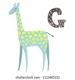 Animals alphabet. G - giraffe. Cute hand drawn illustration with giraffe and letter