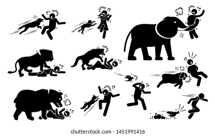 Animals attack human icons signs symbol. Illustrations depict angry and violent dog, monkey, elephant, lion, wolf, bear, fox, bird, sheep, and chicken attack people when the animals felt threatened.