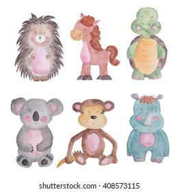 Animals Baby Set Watercolor Illustrations Isolated on the white