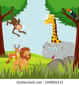 different animals and birds in the forest., illustration