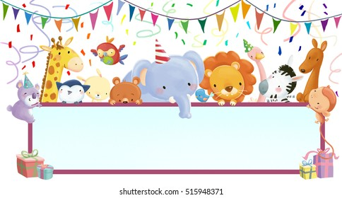 Animals at birthday party