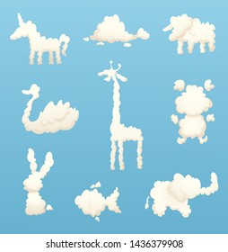 Animals from clouds. Various shapes of cartoon clouds. cloud animal, nature fluffy form, rabbit and fish, horse and sheep illustration