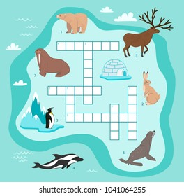 Animals crossword, education game for children illustration. Penguin, walrus, seal, rabbit, bear, reindeer, dolphin in cartoon style. Wildlife animals crossword game for preschool education.