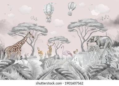 animals in the forest children's room wallpaper design