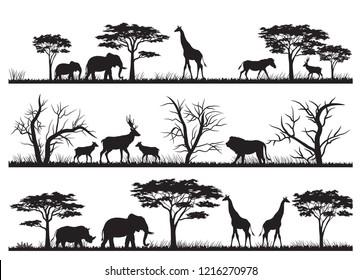 Animals forest silhouette at savanah