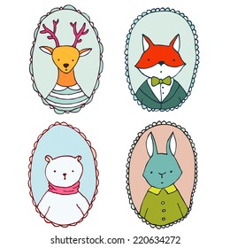 Animals illustrations set, portraits of bear, deer, rabbit and fox