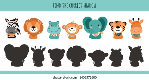 Animals. Learning children game. Find the correct shadow. Cartoon cute illustration on white background.