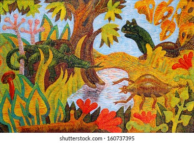 Animals are meeting at a forest spring. (hand-painted)