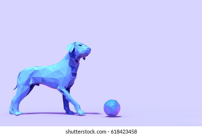 Animals Modern Arts - Origami Dog Low Poly and Creativity Design / 3d rendering