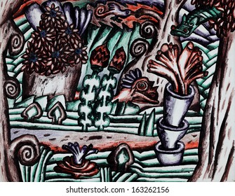 Animals in a mysterious forest