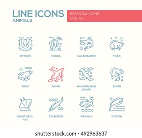 Animals - set of modern plain line design icons and pictograms of reptiles and fish. Python, cobra, salamander, toad, frog, shark, hammerhead shark, skate, giant devil ray, sturgeon, piranha, catfish