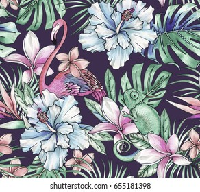 animals and tropical flowers. Seamless botanical pattern with flamingo and chameleon, pastel hues, calm gentle colors on dark background.