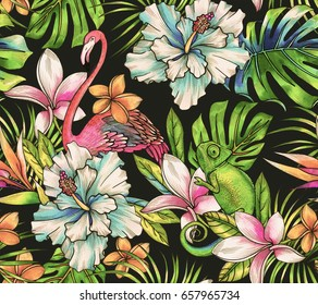 animals and tropical flowers. Seamless botanical pattern with flamingo and chameleon, vibrant glowing colors on dark background.