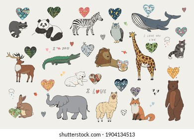Animals Valentines day with hearts illustrations set