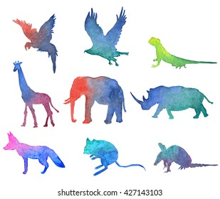 Animals watercolor gradient shade pictures