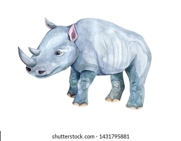 Animals of the wild savanna, zoo, rhinoceros. watercolor animals. African animals for children's textiles and design. Children's bright summer collection of illustrations with animals. stock graphics