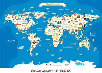 Animals world landmarks map for kid. World poster for children, cute illustrated. Cartoon globe with animals. Oceans and continent: South America, Eurasia, North America, Africa, Australia