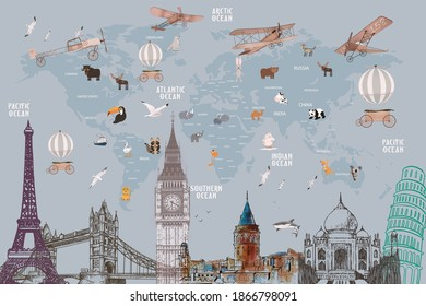 Animals world map and famous landmarks of the world for kids wallpaper design