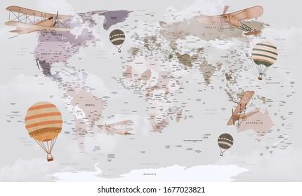 Kids World Map Wallpaper Images Stock Photos Vectors Shutterstock