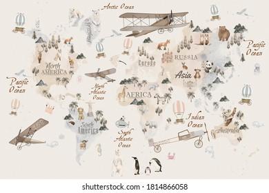 Mapa mundial de animales para diseño de fondo de escritorio infantil