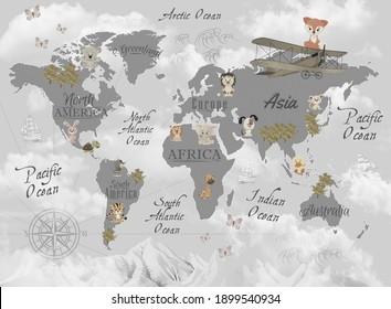 Animals world map for kids wallpaper design
