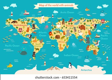 Animals world map. Preschool illustration, baby, continents, oceans, drawn, Earth.