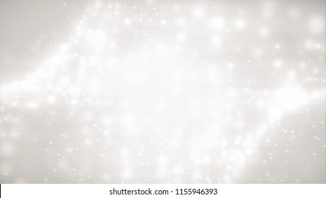 Animated 3D render beautiful magic design snowflaces with blurred background. Beautiful illustration   dream  waving white particles in slow motion gradient background.