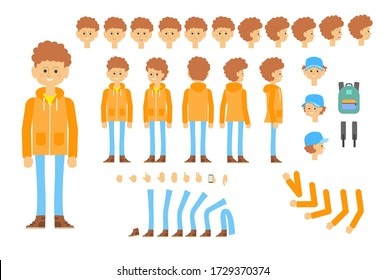 Animated character of teenager in modern outfit. Creative set with different poses, gestures, emotions. Parts of body, backpack, belt. Can be used for topics like student life, individuality, school