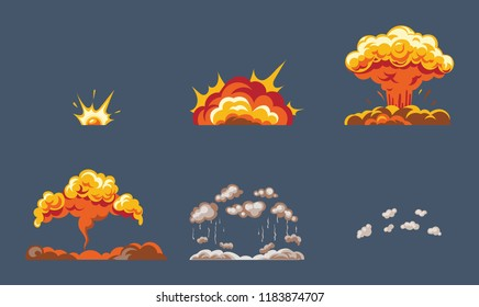 Animation for game of the explosion effect, broken into separate frames. The effect of an explosion with smoke, flame and particles. illustration isolated.