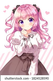 Anime cute character Illustration with pink hair