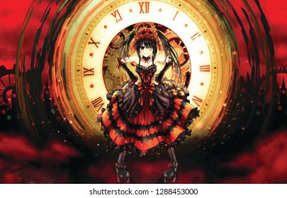 anime girl with clock in background