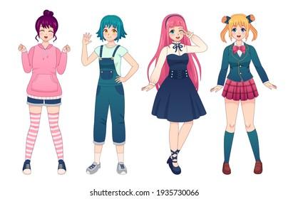 Anime girls. Beautiful japanese manga schoolgirls in uniform, lolita style dress, overalls and hoodie. Happy kawaii female poses  set
