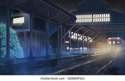 Anime Rain Station at Night Background