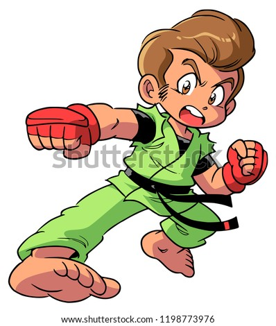 Anime Style Drawing Brave Young Male Stock Illustration 1198773976