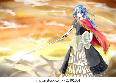 gun sword girl stock illustration 277658621 shutterstock