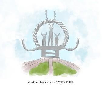 Ankara hitit sculpture illustration deer nd sun