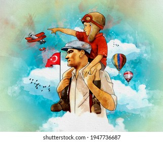 Ankara, Turkey - 23 April 1921:  Digital watercolor illustration of Atatürk. He carries the little boy on his shoulders.